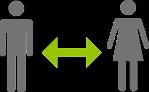 2 Strichmännchen mit Abstandpfeil